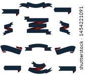 navi blue and red ribbon set... | Shutterstock .eps vector #1454221091
