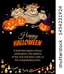 vertical banner with pumpkins... | Shutterstock .eps vector #1454231924