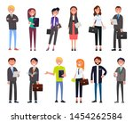 set business people cartoon... | Shutterstock . vector #1454262584