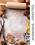 baking utensils  spices and... | Shutterstock . vector #145427521