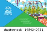 flat colorful amusement park... | Shutterstock .eps vector #1454340731
