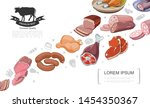 cartoon meat food concept with... | Shutterstock .eps vector #1454350367
