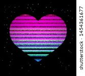glitched and glowing heart icon ... | Shutterstock .eps vector #1454361677