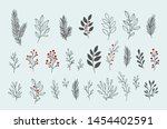 hand drawn vector winter floral ... | Shutterstock .eps vector #1454402591