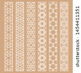 vector set of line borders with ... | Shutterstock .eps vector #1454411351