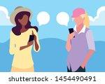 two women using smartphone... | Shutterstock .eps vector #1454490491