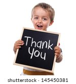 child holding a thank you sign... | Shutterstock . vector #145450381