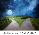 fork in the road at night... | Shutterstock . vector #1454517827