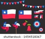 National Holiday Fiestas Patrias (Dieciocho), Independence Day of Chile, vector design elements set. Chilean flags, ribbons, pinwheels, rosettes, national flower Copihue.