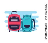 travel suitcase equipment with... | Shutterstock .eps vector #1454525837
