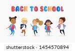 happy multiracial children... | Shutterstock .eps vector #1454570894