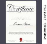 certificate template | Shutterstock .eps vector #145457911