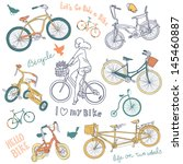 vintage bicycle set and a... | Shutterstock .eps vector #145460887