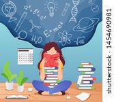 girl prepare to exam. young...   Shutterstock .eps vector #1454690981