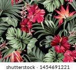 seamless pattern exotic... | Shutterstock . vector #1454691221