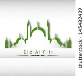 Illustration of mosque on grey background for Eid Al Fitr (Eid Mubarak) festival.