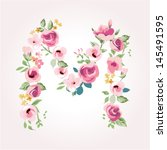 vector flower font capital m | Shutterstock .eps vector #145491595