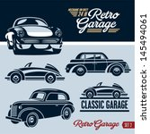 classic cars. retro cars garage.... | Shutterstock .eps vector #145494061