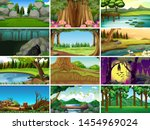 sets of empty nature landscape... | Shutterstock .eps vector #1454969024