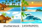 set of tropical ocean nature... | Shutterstock .eps vector #1454969051