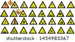 warning sign  yellow sign icon ... | Shutterstock .eps vector #1454983367