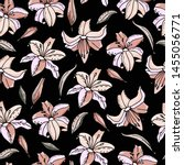 seamless pattern with lily... | Shutterstock .eps vector #1455056771