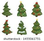 christmas trees set isolated on ... | Shutterstock .eps vector #1455061751