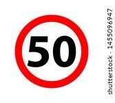 traffic sign speed limit 50. 50 ... | Shutterstock .eps vector #1455096947