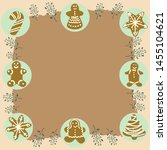 gingerbread biscuits frame on... | Shutterstock .eps vector #1455104621