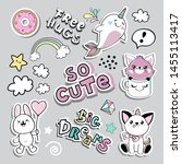 fashion patch badges with bunny ... | Shutterstock .eps vector #1455113417