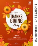 happy thanksgiving day party... | Shutterstock .eps vector #1455138041
