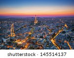 paris  france at sunset. aerial ... | Shutterstock . vector #145514137