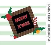 merry christmas wood frame card ... | Shutterstock .eps vector #1455178907