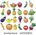 cartoon fruits and vegetables... | Shutterstock .eps vector #145520851