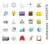 illustration of office icons... | Shutterstock . vector #145522975