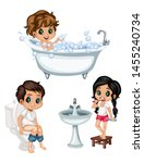 cute cartoon kids in a bathroom ... | Shutterstock .eps vector #1455240734