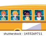 school bus with boys and girls... | Shutterstock .eps vector #1455269711