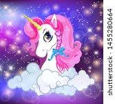 unicorn head with pink mane...   Shutterstock . vector #1455280664