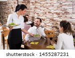 Small photo of Happy nippy taking care of tavern guests and serving meal
