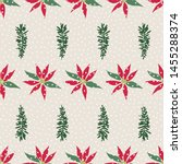 christmas snowy floral seamless ... | Shutterstock .eps vector #1455288374