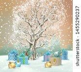 christmas winter scene. vector... | Shutterstock .eps vector #1455290237