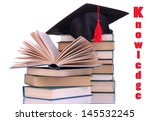 grad hat with books isolated on ...   Shutterstock . vector #145532245