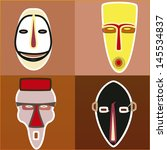 four african masks with... | Shutterstock .eps vector #145534837