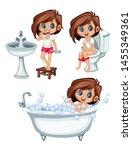 cute cartoon kids in a bathroom ... | Shutterstock .eps vector #1455349361