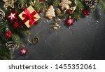 christmas dark black background ...   Shutterstock . vector #1455352061