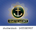 gold badge or emblem with... | Shutterstock .eps vector #1455385907