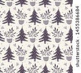 seamless pattern. hand drawn... | Shutterstock .eps vector #1455386684