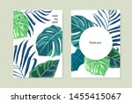 tropical set with palm leaves... | Shutterstock .eps vector #1455415067