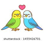 cute cartoon budgie couple... | Shutterstock .eps vector #1455426701