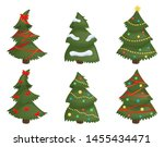 christmas trees set isolated on ... | Shutterstock .eps vector #1455434471